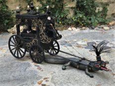 dollhouse miniature dolls ride alligator drawn hearse carriage funeral cart