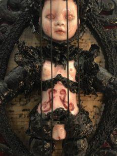 mixed media assemblage dark art doll violin