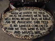 hand lettered painted poem on carved wood board